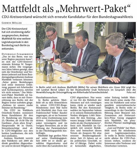 Wümmer Report 16 10 23 Kandidatur Mattfeld