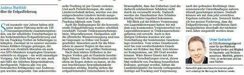 Weser-Kurier 16 06 29 Gastbeitrag Fracking