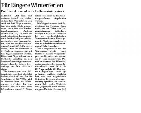Winterferien Hamme Report
