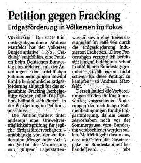 Petition gegen Fracking