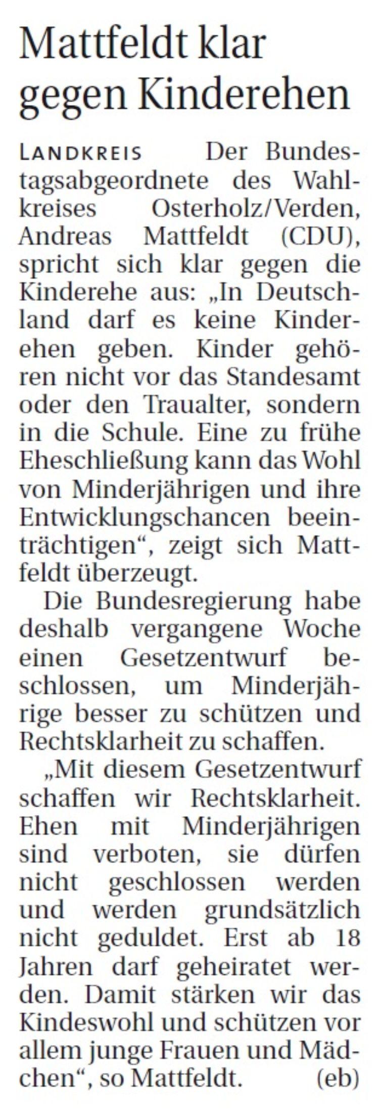 Mattfeldt klar gegen Kinderehen