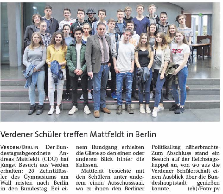 Verdener Schüler treffen Mattfeldt in Berlin