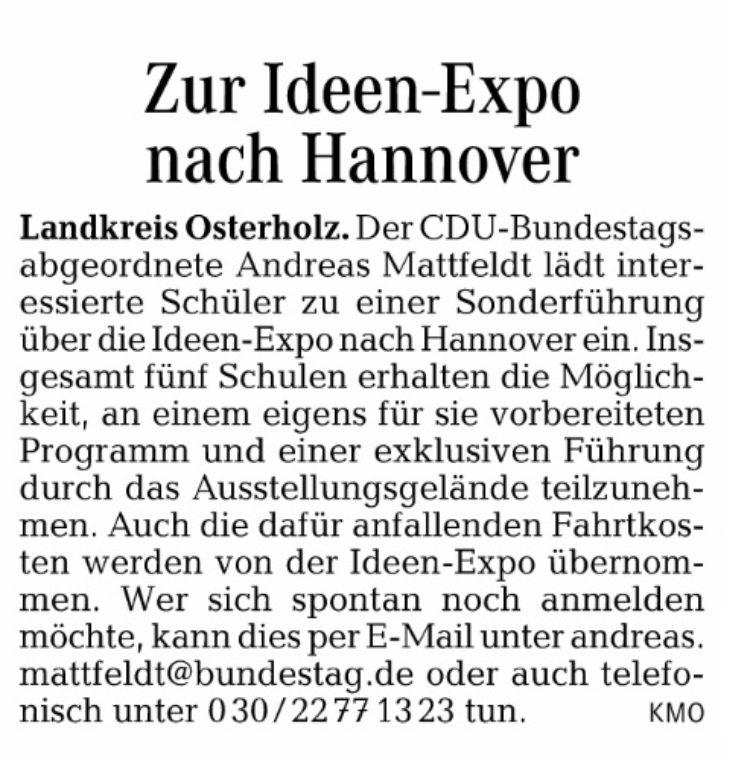 Zur Ideen Expo nach Hannover