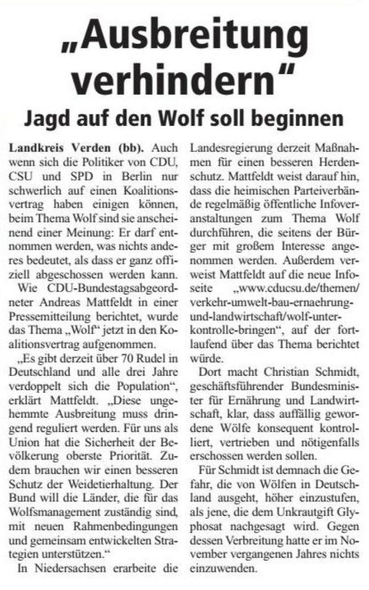 Ausbreitung des Wolfes verhindern