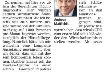 Mattfeldt kommentiert Koalitionsvertrag