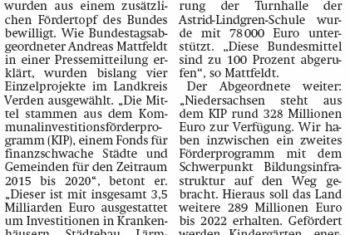 Mattfeldt: Mittel fließen