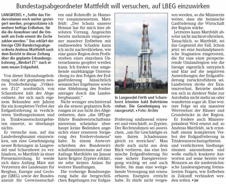 Gegen neue Erdgasbohrungen
