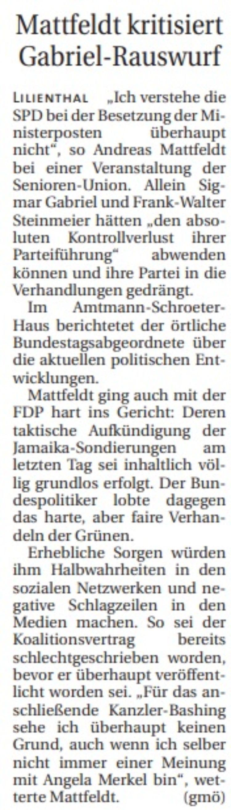 Mattfeldt bei der Senioren Union Lilienthal