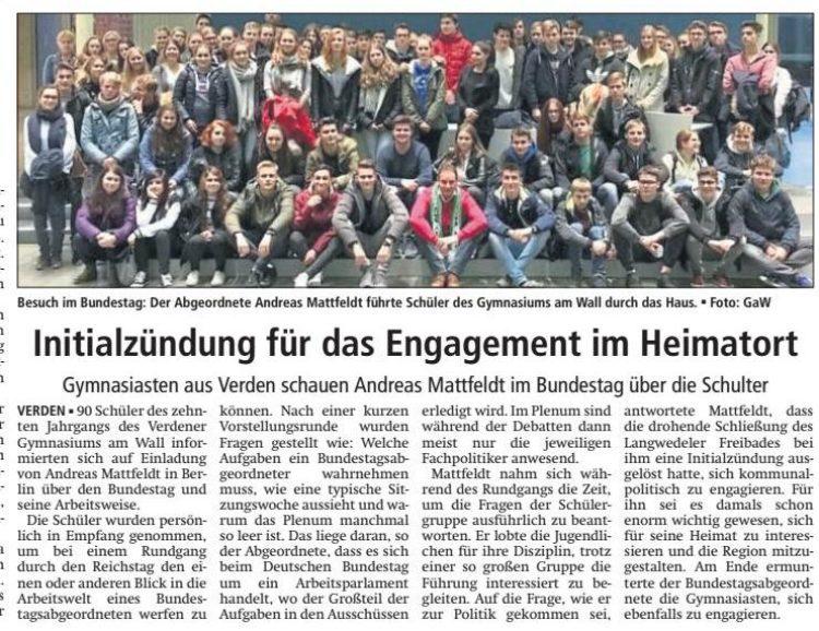 Gymnasium am Wall besucht den Bundestag