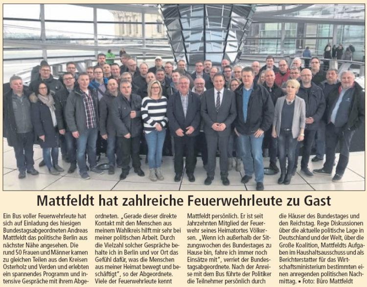 Feuerwehrleute besuchen Mattfeldt in Berlin