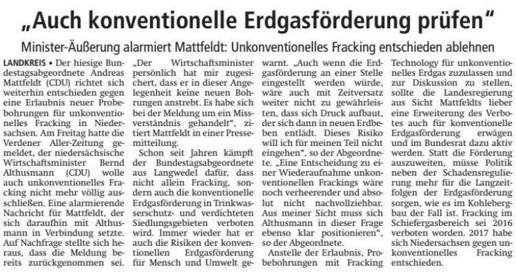 Fracking entschieden ablehnen
