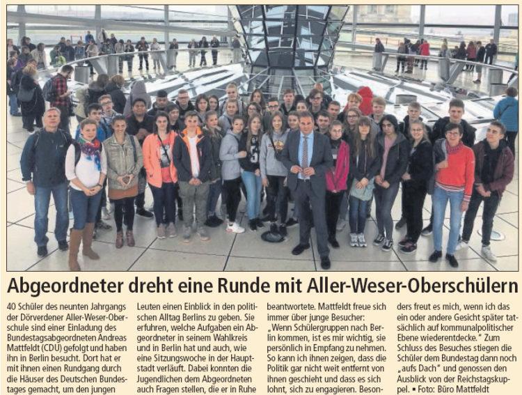 Aller-Weser-Oberschüler zu Besuch