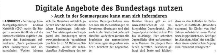 Informationen über den Bundestag online