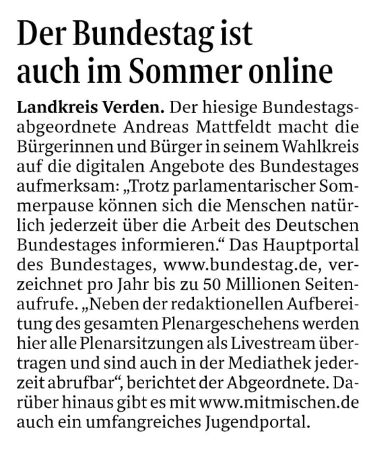 Digitale Informationen über den Bundestag