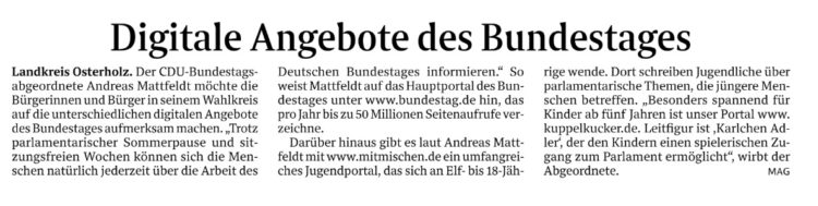 digitales Angebot des Bundestages