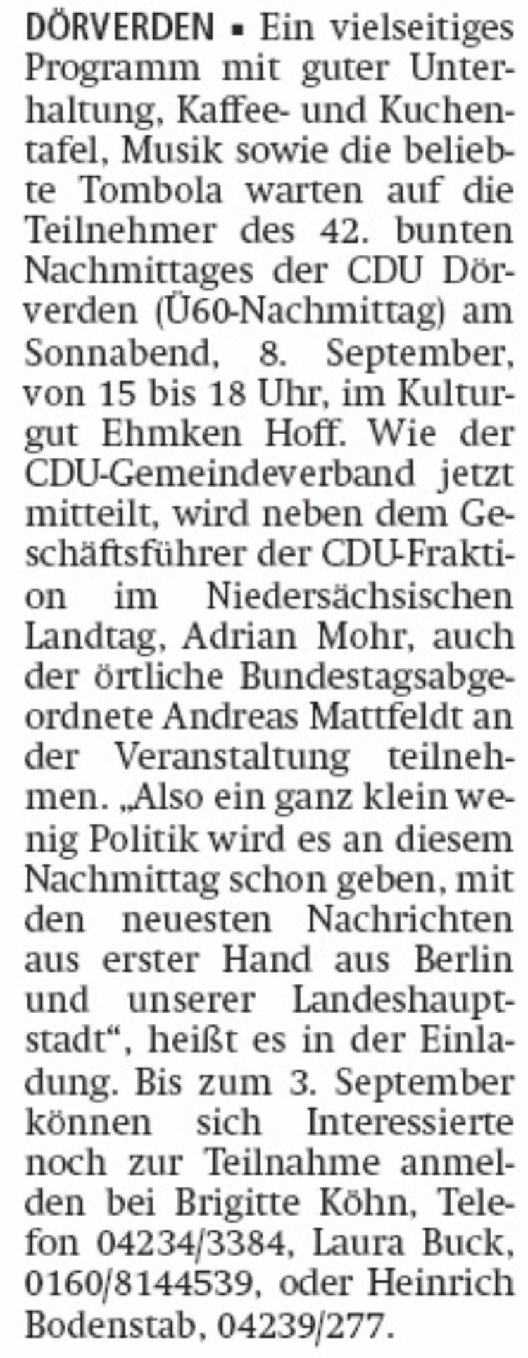 Mattfeldt beim CDU-Nachmittag