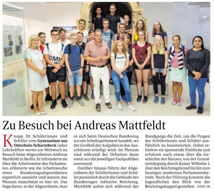 Osterholzer Gymnasiasten zu Besuch bei Mattfeldt