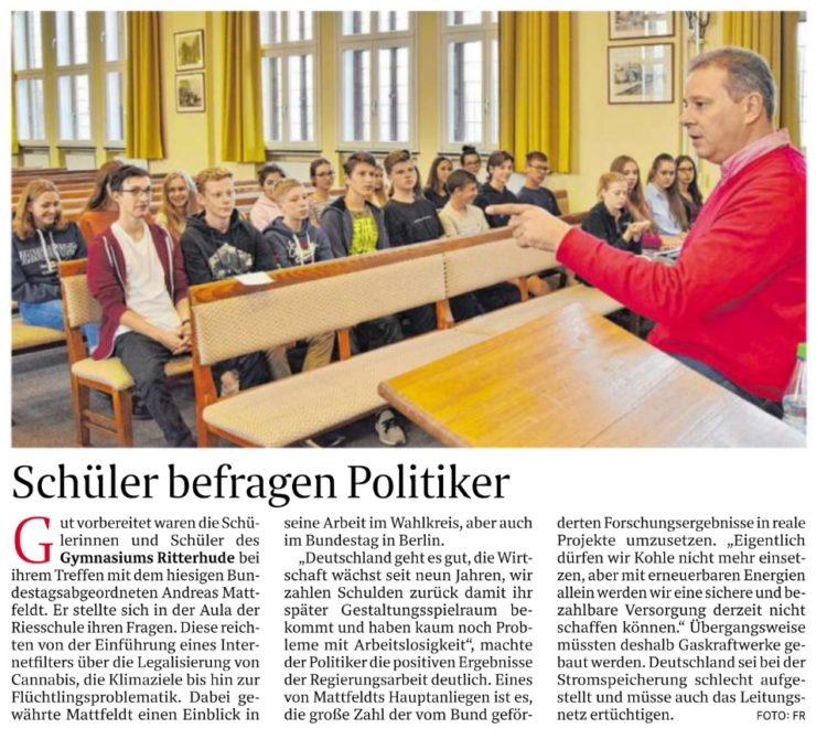 Ritterhuder Schüler fragen Mattfeldt