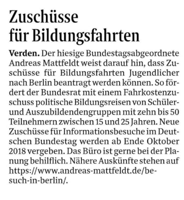 Zuschüsse für Fahrten zum Bundestag