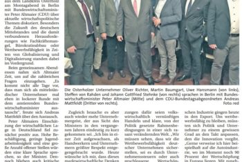 Ein Abend für den Mittelstand: Osterholzer Unternehmer diskutieren mit Wirtschaftsminister Altmaier in Berlin