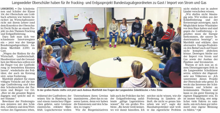 """""""Finger von der Gasförderung in besiedelten Räumen lassen"""""""