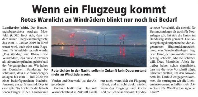 Windräder blinken nur noch bei Annäherung