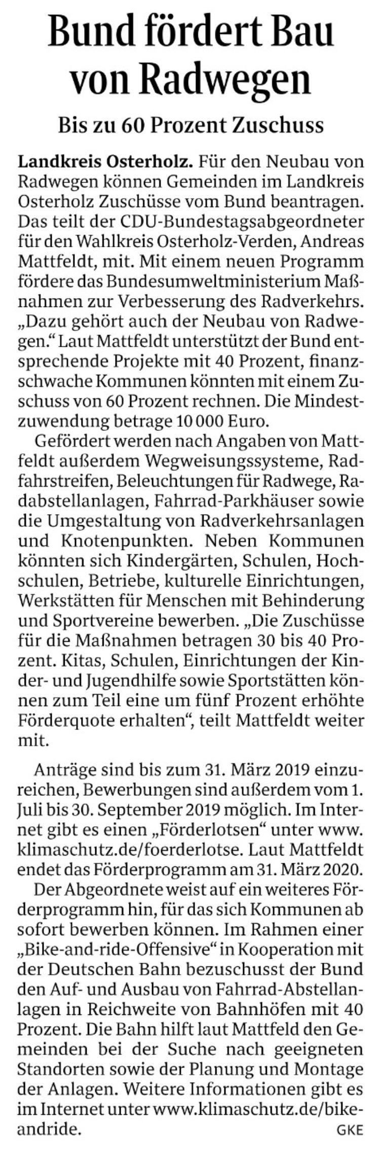 Bund fördert Radwegebau