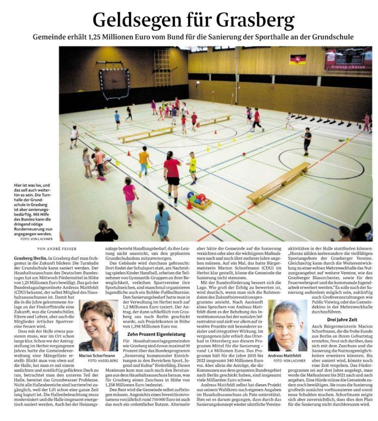Millionen vom Bund für Grasbergs Sporthalle