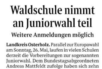 Juniorwahl in Schwanewede