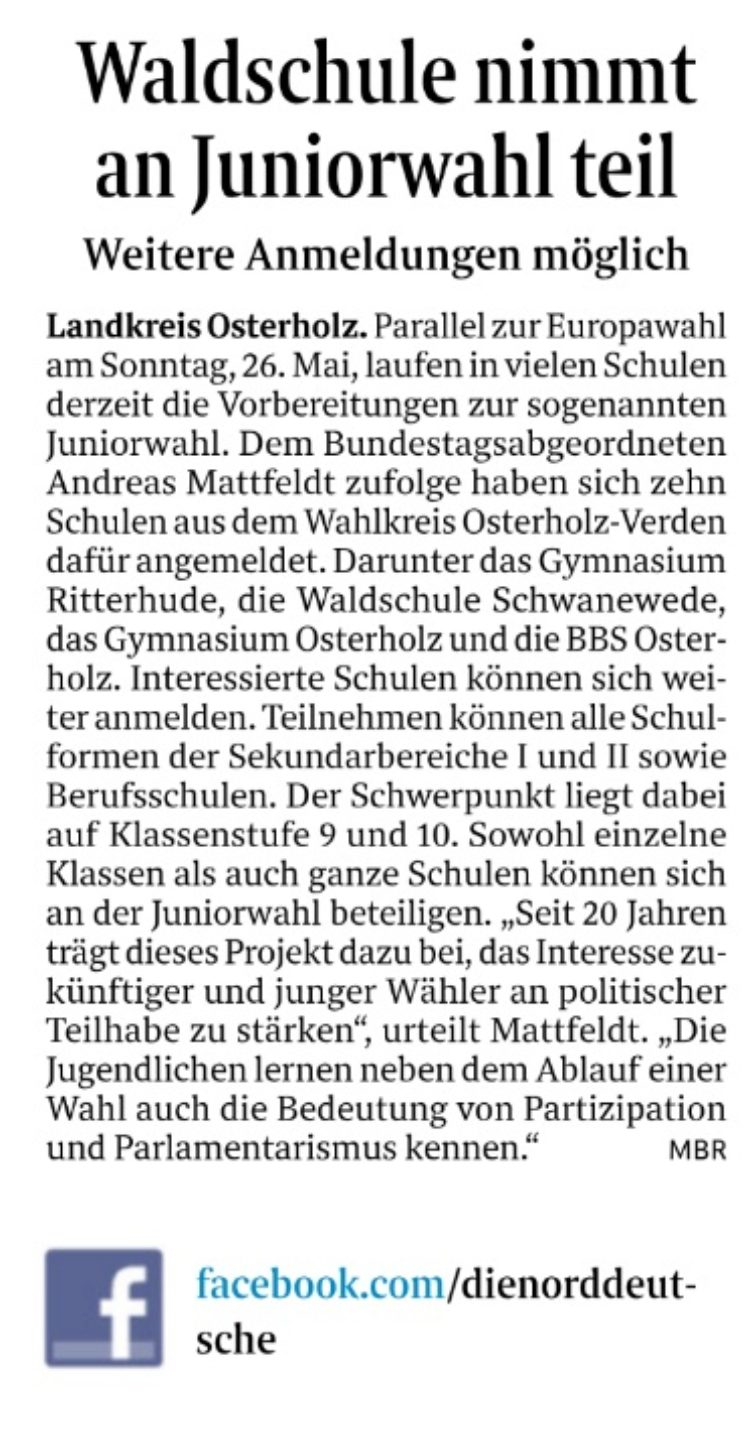 Juniorwahl in Schwanewede