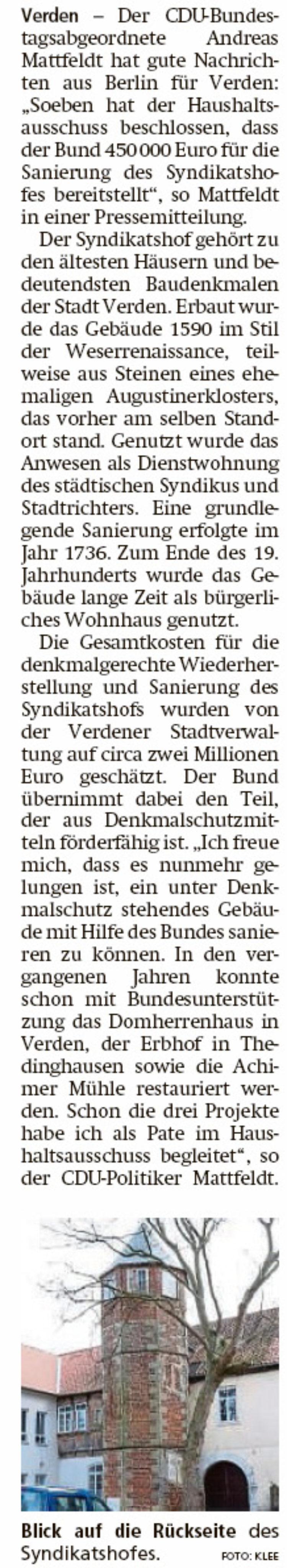 450 000 Euro für Syndikatshof vom Bund