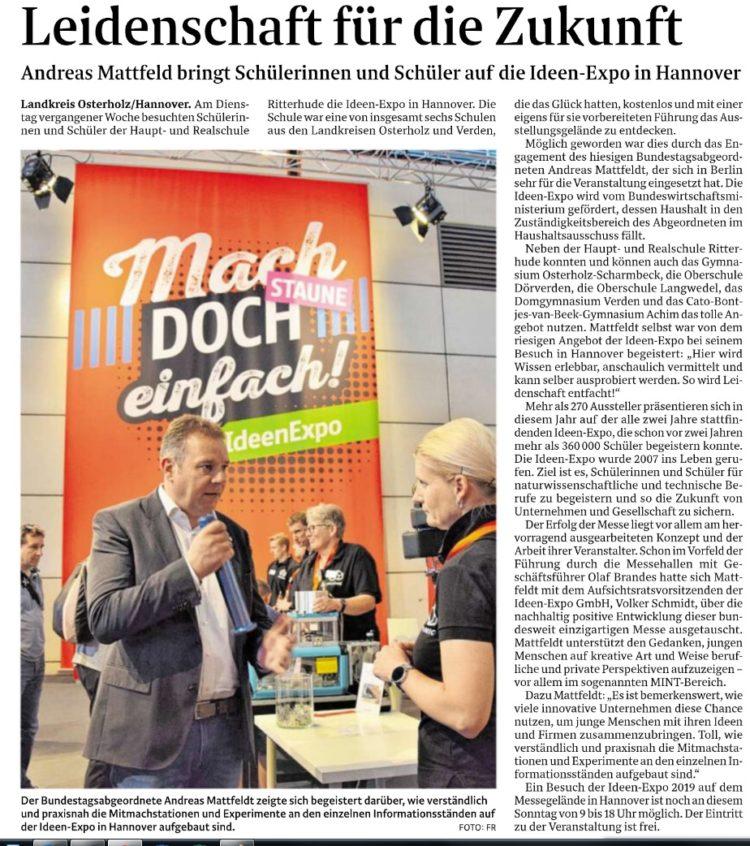 Osterholzer Schulklassen mit Mattfeldt auf der IdeenExpo