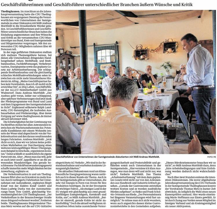 Samtgemeinde-Unternehmer diskutieren