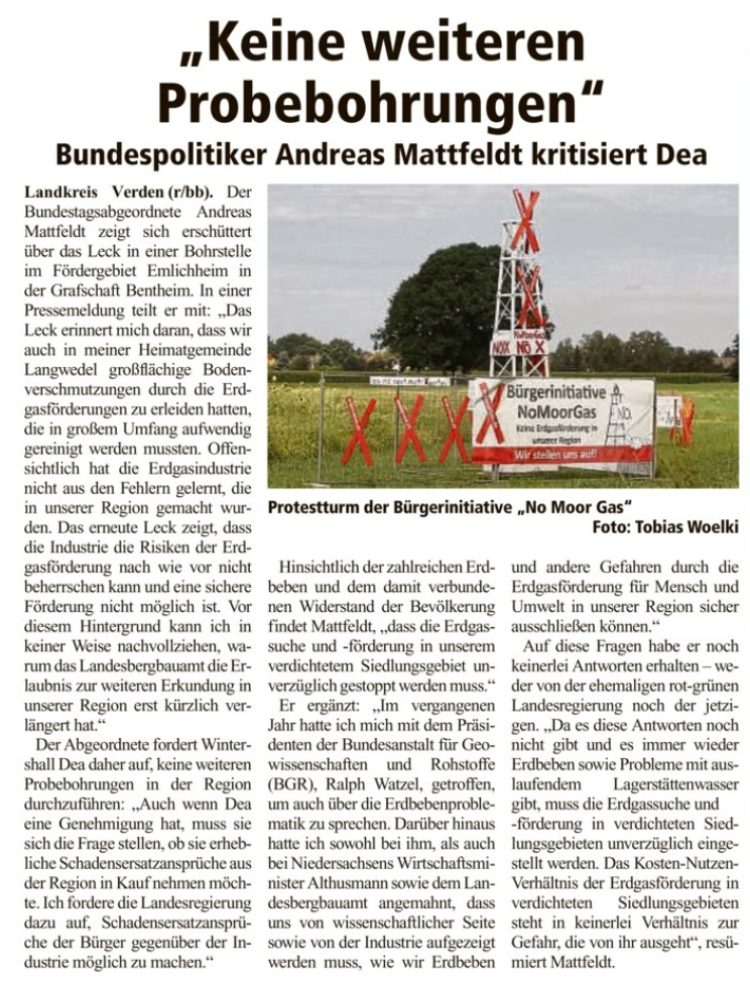 Kritik an Erdgasförderung der DEA
