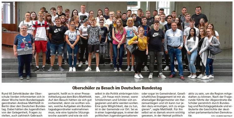 Verdener Schüler besuchen Andreas Mattfeldt