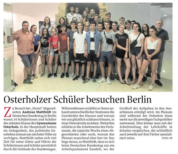 Osterholzer Gymnasiasten zu Besuch in Berlin