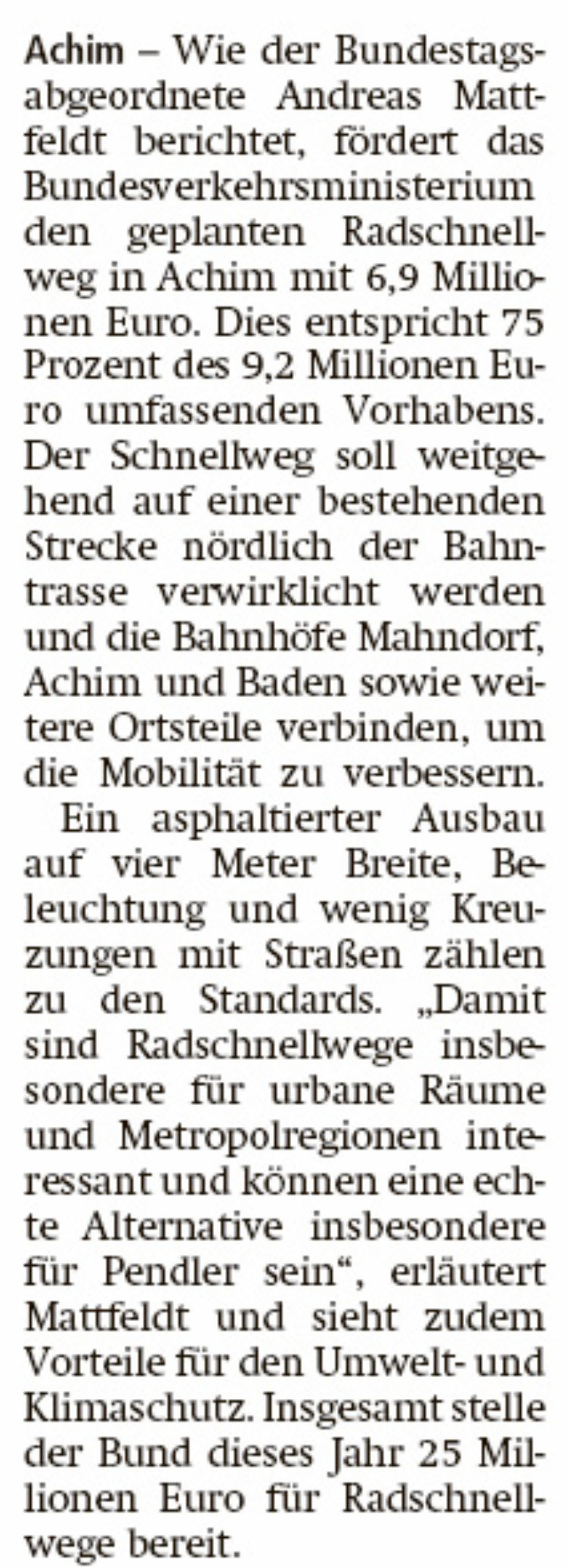Bund fördert Radschnellweg