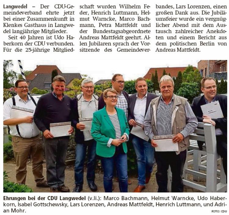 CDU ehrt langjährige Mitglieder
