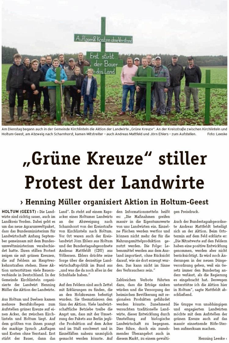 Stiller Protest der Landwirte