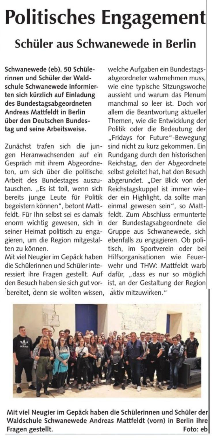 Schwaneweder Waldschüler besuchen den Bundestag