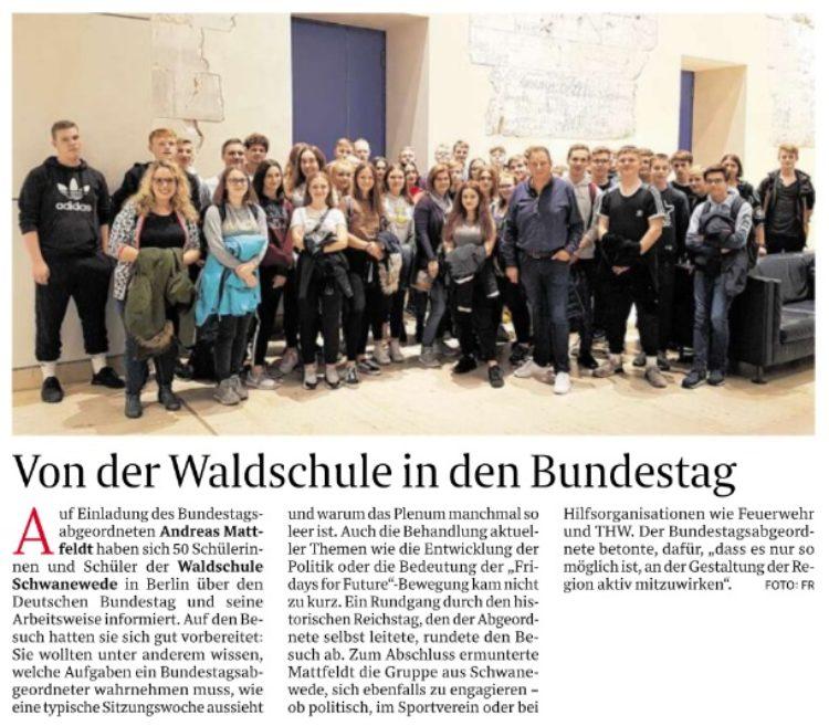 Schwaneweder Schüler zu Besuch im Reichstag