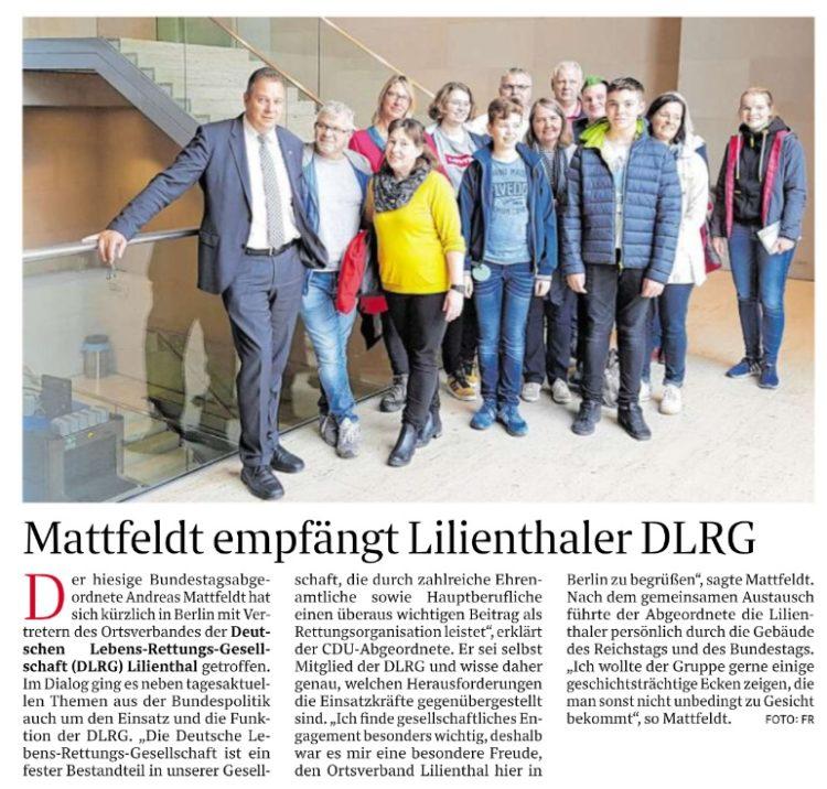Lilienthaler DLRG informiert sich über die Arbeit des Bundestages