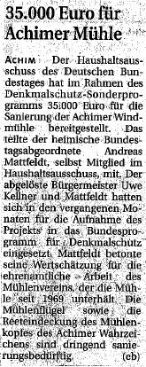 35.000 Euro für Achimer Mühle