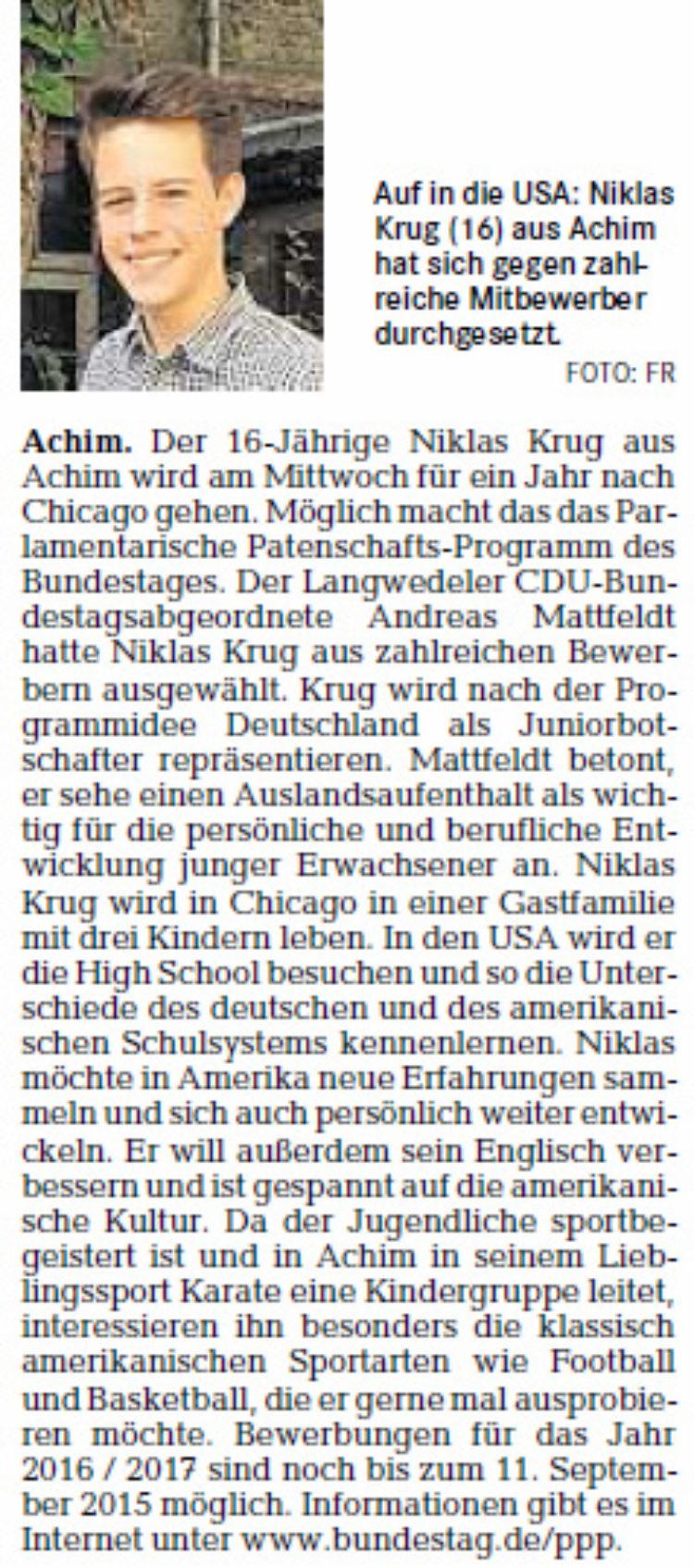 Mit Stipendium des Bundestags in die USA
