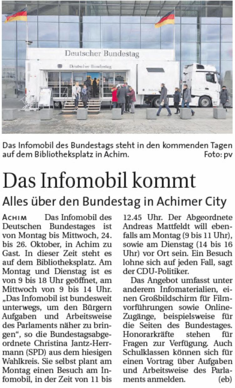 Infomobil des Bundestags kommt