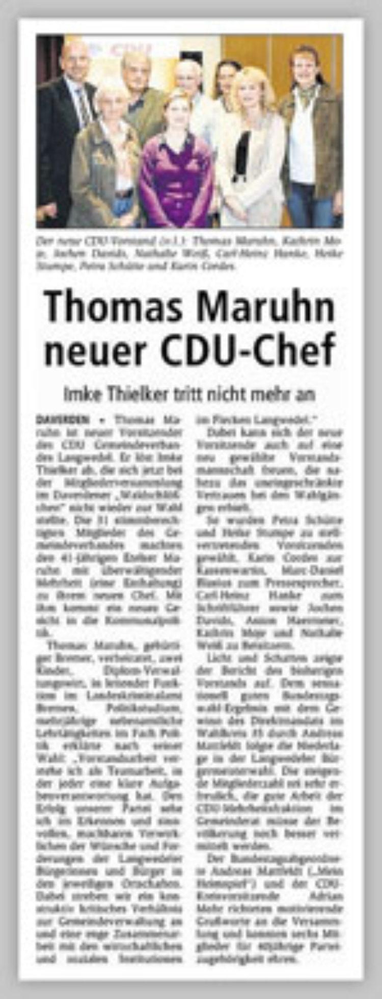 CDU Gemeindeverband Langwedel wählt neuen Vorstand