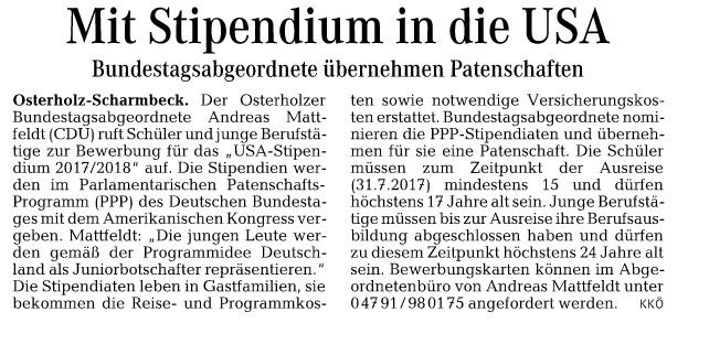 Die Norddeutsche 07.05. Mattfeldt PPP Aufruf