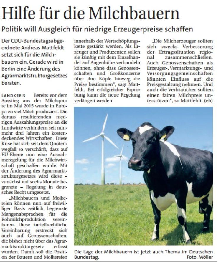 Hilfe für Milchbauern