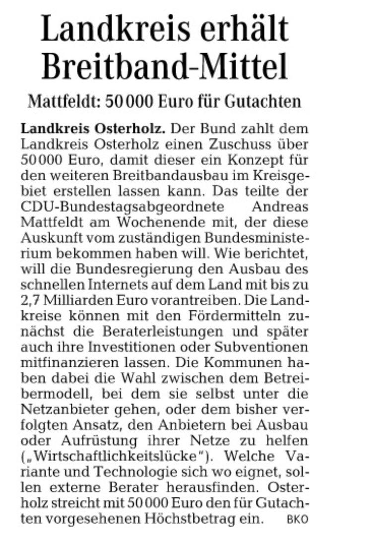 Osterholz: Landkreis erhält Breitbandmittel