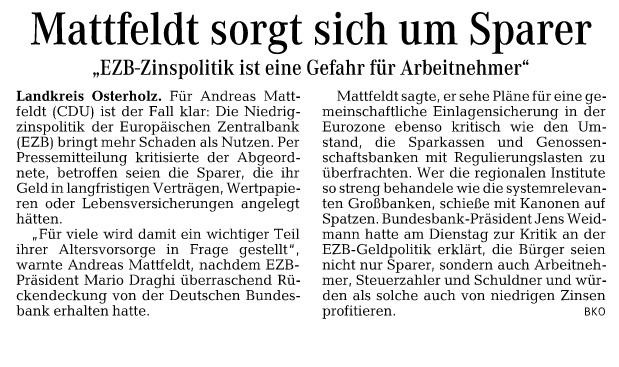 HP Osterholzer Kreisblatt 11.05 Mattfeldt EZB Zinspolitik